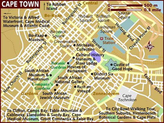 Detailed map of Cape Town for print or download