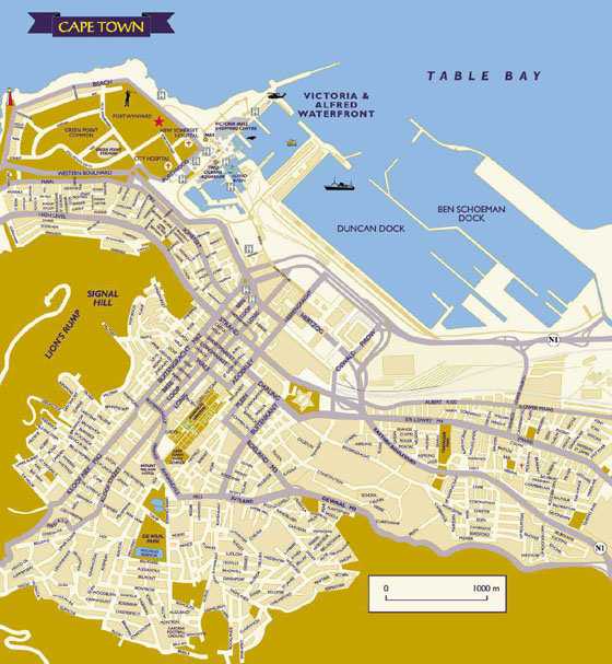 High-resolution map of Cape Town for print or download