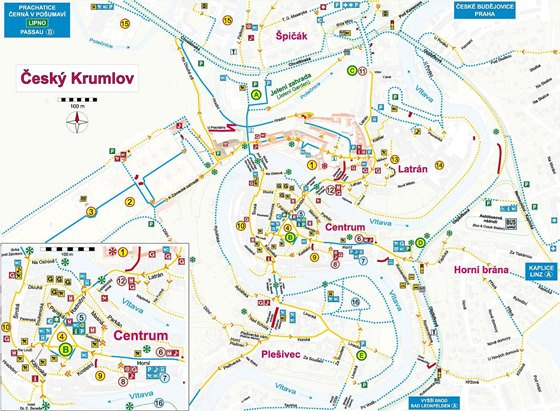 Detailed map of Cesky Krumlov 2