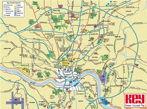 Große Karte von Cincinnati 1