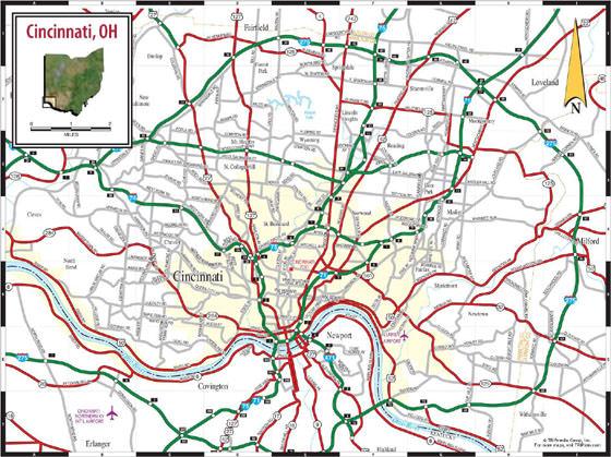 Detailed map of Cincinnati 2
