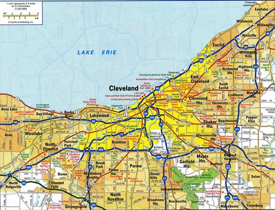 Detailed map of Cleveland 2