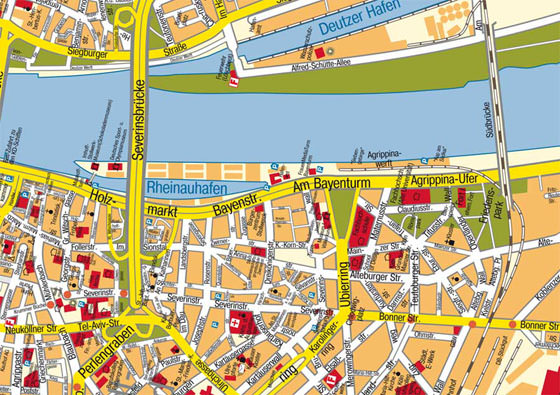 Detailed map of Cologne 2