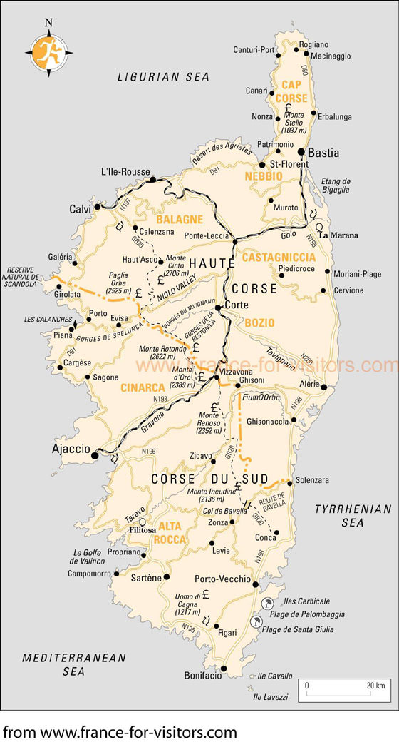 Large map of Corse 1