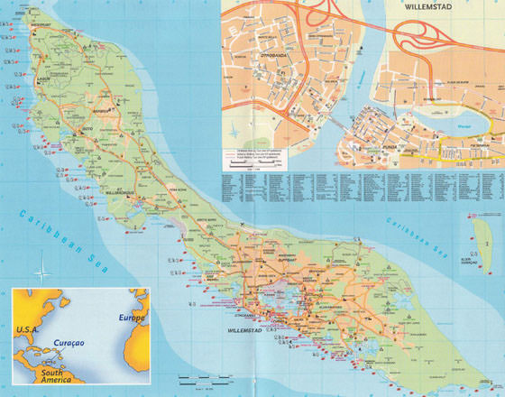 Large map of Curacao 1