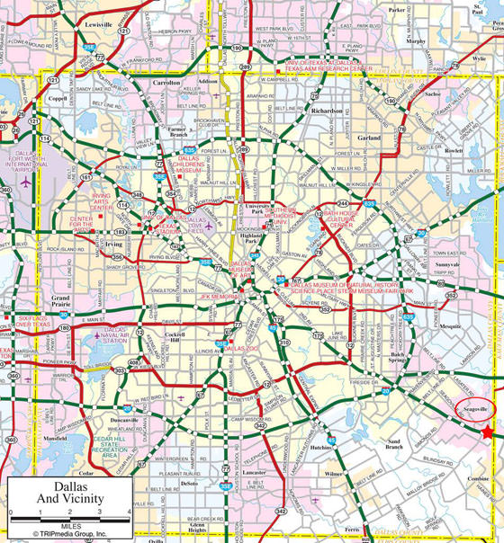 Detailed map of Dallas for print or download