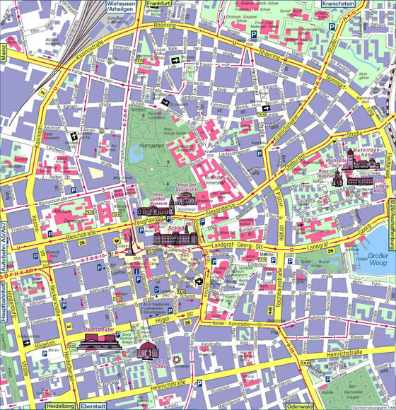 Detailed map of Darmstadt 2