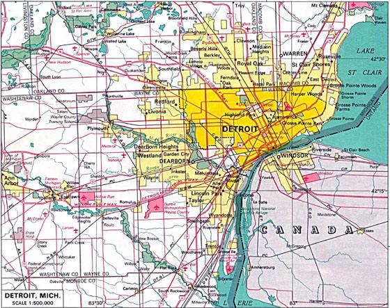 Große Karte von Detroit 1
