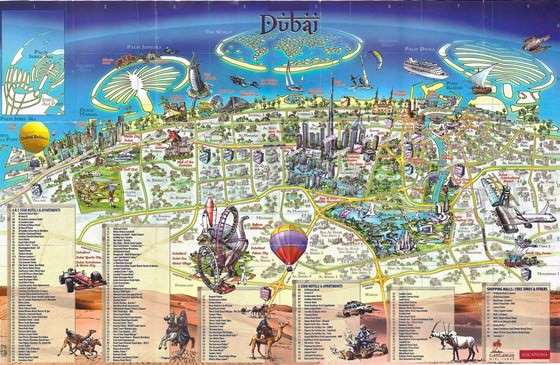 Detailed map of Dubai for print or download