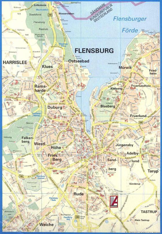 stadtplan von flensburg detaillierte gedruckte karten. Black Bedroom Furniture Sets. Home Design Ideas