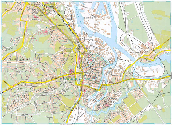High-resolution map of Gdansk for print or download