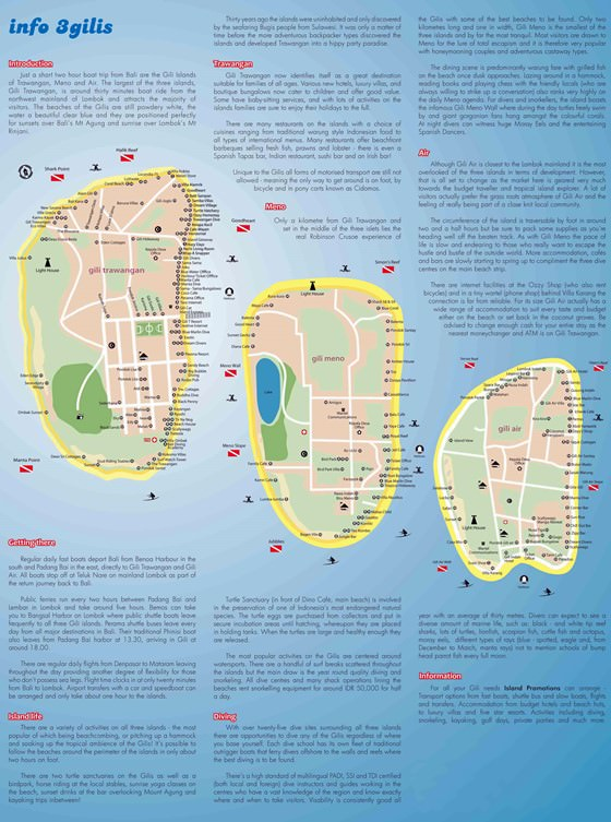 Large map of Gili Islands 1