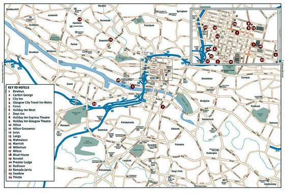 Detailed map of Glasgow 2