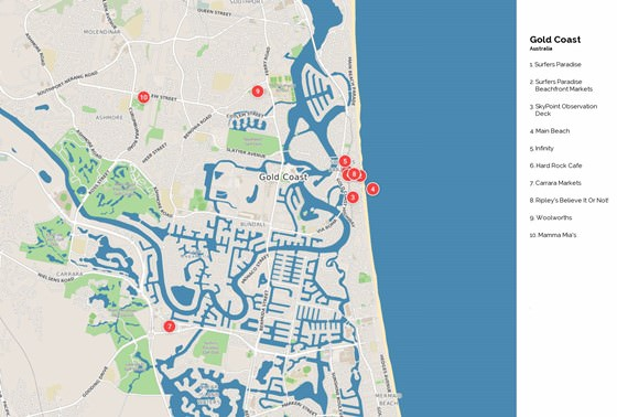 Detailed map of Gold Coast 2