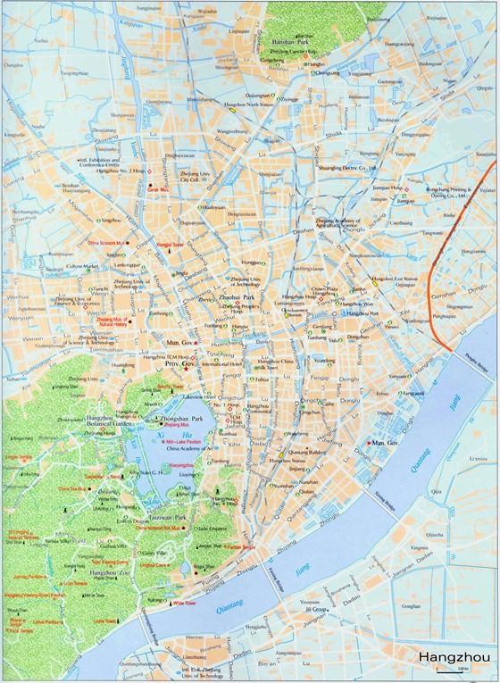 Large map of Hangzhou 1