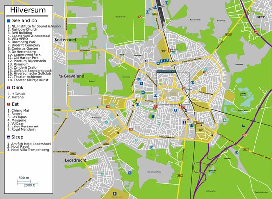 Large map of Hilversum 1