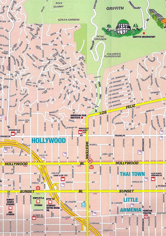 Large map of Hollywood, CA 1