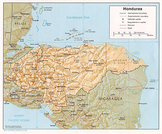 Detailed map of Honduras for print or download