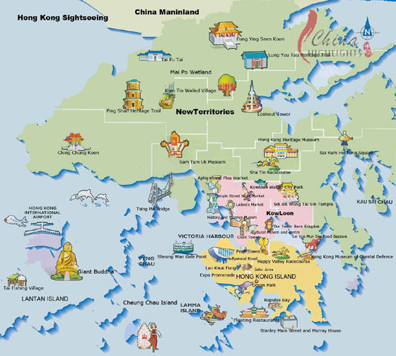 High-resolution map of Hong Kong for print or download