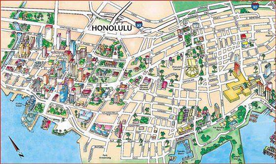 Große Karte von Honolulu 1