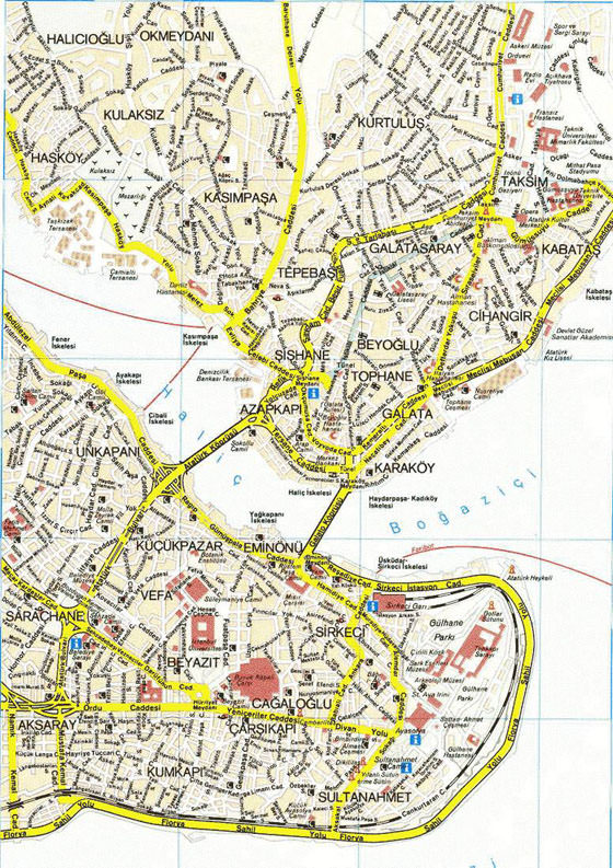 Detailed map of Istanbul for print or download