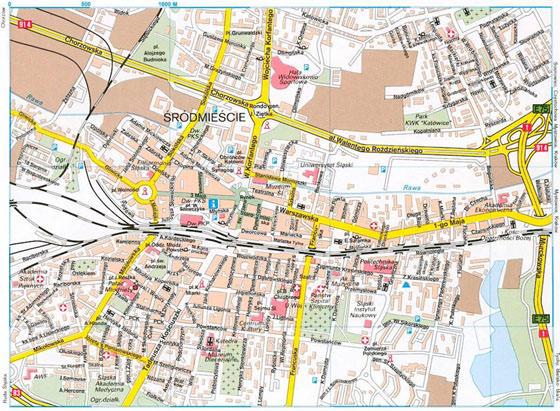 Large map of Katowice 1