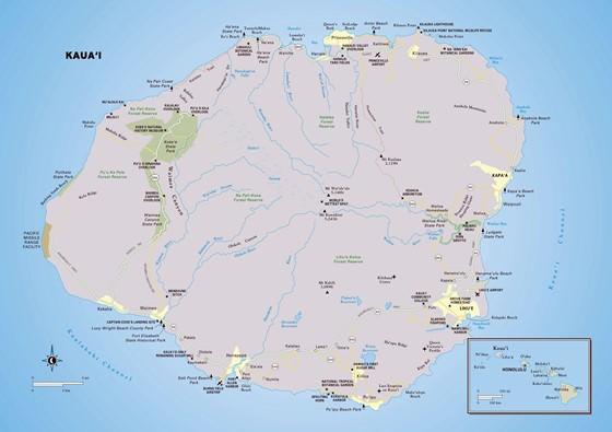 Große Karte von Kauai Insel 1