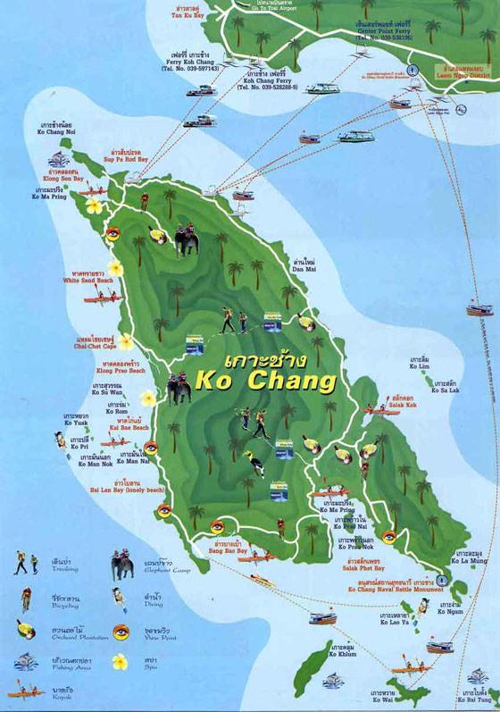 Детальная карта Ко Чанга для печати или скачивания
