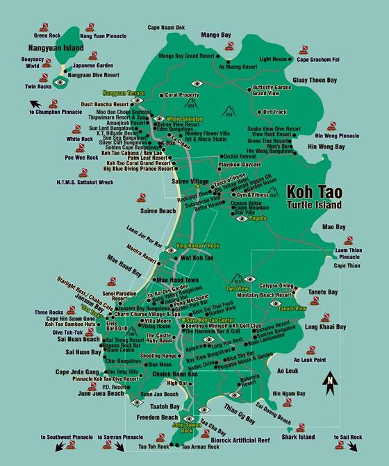 Large map of Ko Tao Island 1