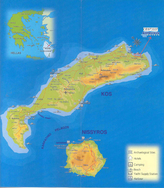 Detaillierte Karte von Kos 2