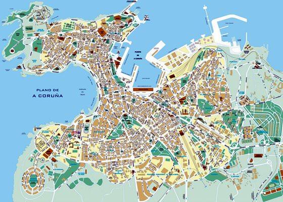 Stadtplan Von A Coruna Detaillierte Gedruckte Karten Von