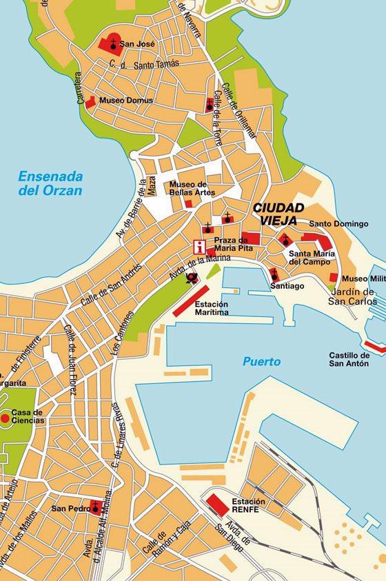 Mapa detallado de La Coruña 2