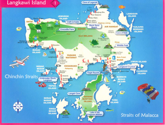 Detailed map of Langkawi for print or download