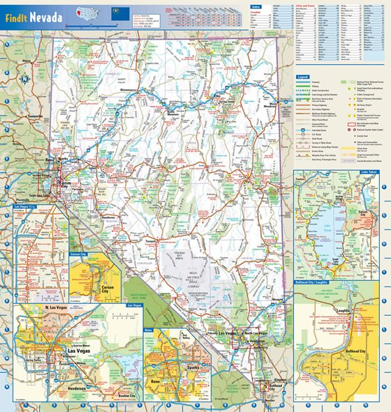 Große Karte von Nevada 1