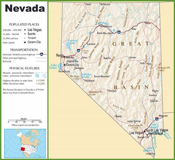 Detaillierte Karte von Nevada 2
