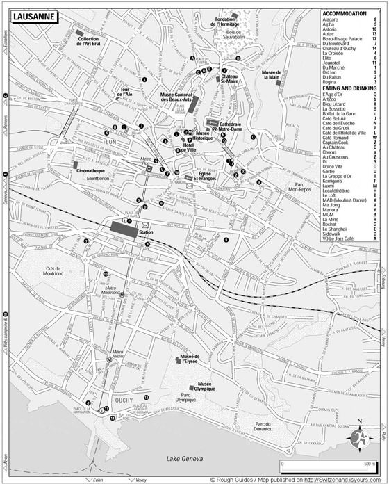 Large map of Lausanne 1