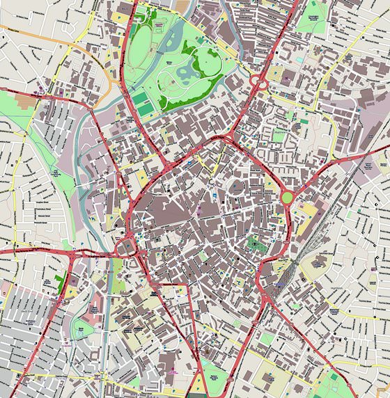 Large map of Leicester 1