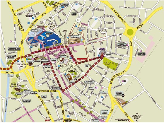Detailed map of Leicester 2