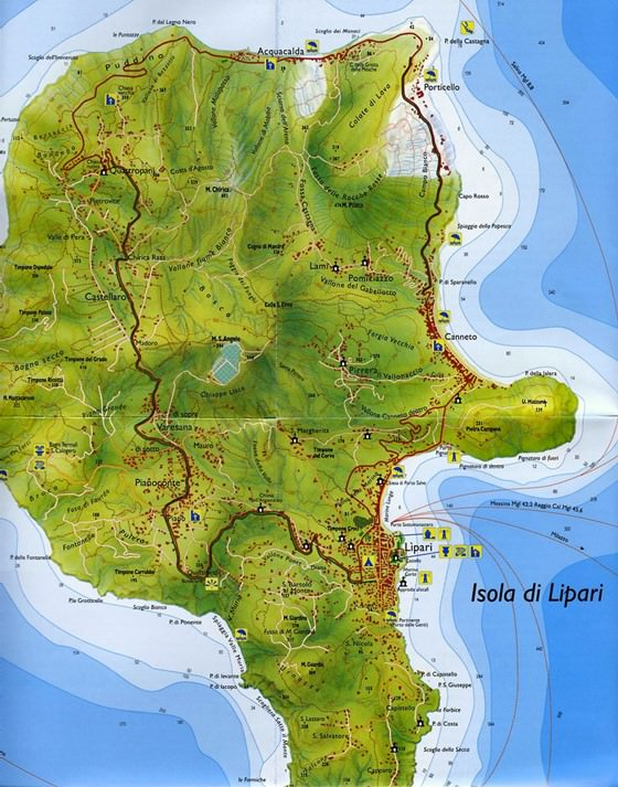 Lipari Island map 1
