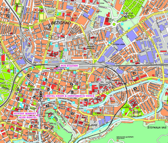 Detailed map of Ljubljana 2