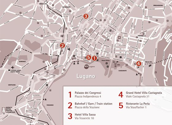Detailed map of Lugano 2