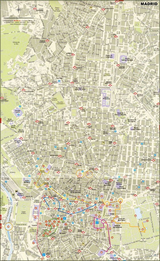 High-resolution map of Madrid for print or download