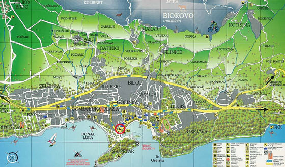High-resolution map of Makarska for print or download