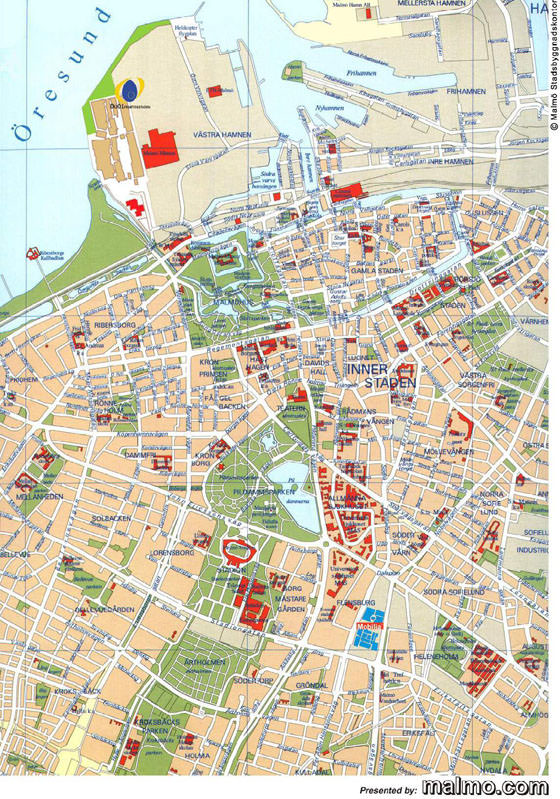 High-resolution map of Malmo for print or download