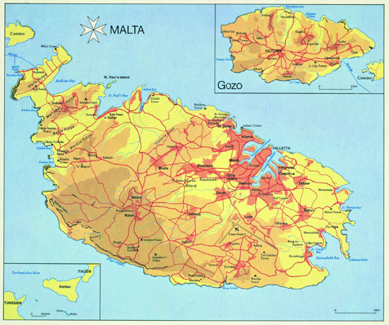 High-resolution map of Malta for print or download