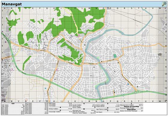 Подробная карта Манавгата 2