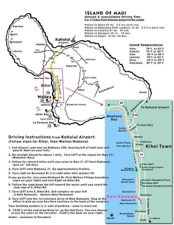 Große Karte von Maui 1