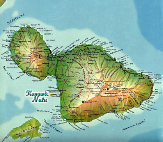 Detaillierte Karte von Maui 2