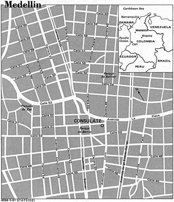 Detaillierte Karte von Medellin 2