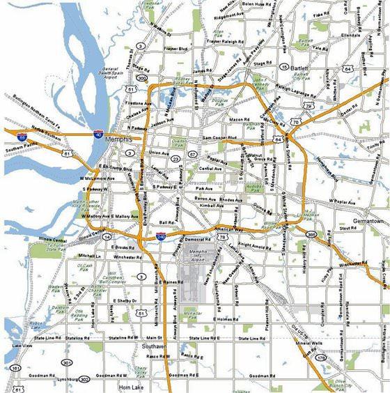 Memphis Plan De La Ciudad Mapas Imprimidos De Memphis
